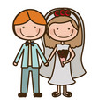 color silhouette cartoon couple in wedding suit vector image vector image