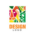 colorful flat logo in rectangular shape label vector image vector image