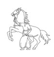 cossack with sword and horse vector image vector image