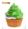 cupcake christmas decorations 3d realistic icon vector image