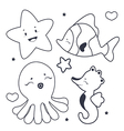 Cute sea characters coloring book vector image vector image