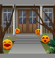 decoration in front of the house on halloween day vector image