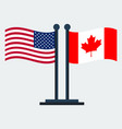 flag of canada and united states flag stand vector image