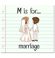 Flashcard letter M is for marriage vector image vector image