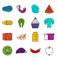 food icons doodle set vector image