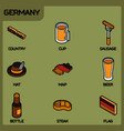germany color outline isometric icons vector image vector image