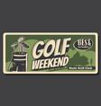 golfing club bag with metal sticks golf sport vector image