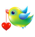 Green Bird With Heart vector image