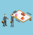 isometric flat concept insurance deal vector image