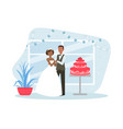 just married couple posing with holiday cake vector image vector image