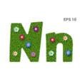 letter nn with a texture of grass and flowers vector image vector image