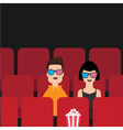 Love couple sitting in movie theater Film show vector image