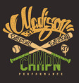 madison baseball club print for sportswear vector image