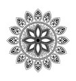 mandala style tattoo black and white round floral vector image
