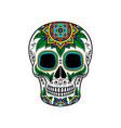 mexican sugar skull with floral ornament dia de vector image vector image