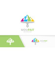 mountain and brush logo combination nature vector image vector image