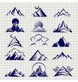 Mountain icons on notebook background vector image vector image