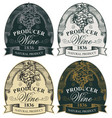 ornate hand-drawn labels for wine with grape vector image