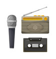 radio with antenna and cassette with microphone vector image vector image