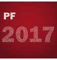 red happy new year pf 2017 from little snowflakes vector image vector image