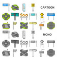 road junctions and signs cartoon icons in set vector image vector image