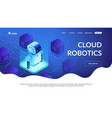 robotics networking isometric 3d landing page vector image vector image