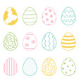 set of cute colorful doodle easter eggs vector image vector image