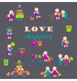 Set of shopping people icons vector image