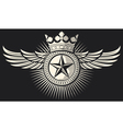 star with wings and crown tattoo vector image