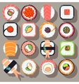 Sushi japanese cuisine food flat icons vector image