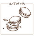 sweets and cakes cookies and biscuits snacks vector image vector image