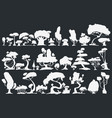 tree silhouette set trees in dark vector image vector image