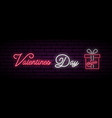 valentine day sale neon long banner neon gift vector image