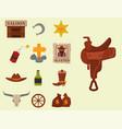 vintage western cowboys signs american vector image vector image