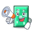 with megaphone rectangle character cartoon style vector image vector image
