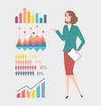 woman presenting information in infocharts schemes vector image vector image