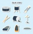Drum icons Stickers Flat design vector image