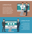 Handshake of two business people with laptop On vector image