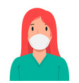a woman with medical breathing mask in flat style vector image vector image