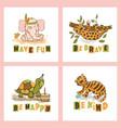 animal card set cute cartoon circus zoo hand drawn vector image vector image