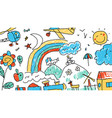 background childrens drawing vector image