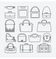 Bag thin line icons vector image vector image