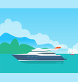 big sea motorboat and cute seascape color banner vector image