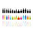 bottle icons collection colorful black silhouette vector image vector image
