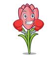 boxing crocus flower character cartoon vector image vector image