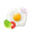 breakfast fried egg tomato and green salad vector image vector image
