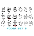 cartoon doodle faces with different emotions vector image