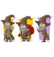 cartoon wizard with big hat character set vector image vector image