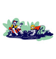 children characters wallow in dirty puddle at rain vector image vector image