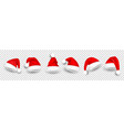 christmas santa claus hats with fur new year red vector image